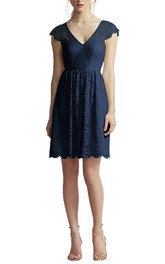 Cap Sleeve V-neck Lace A-line Bridesmaid Dress with Keyhole Back