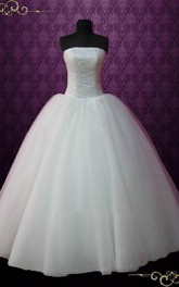 Ball Gown Tulle Satin Dress With Beading
