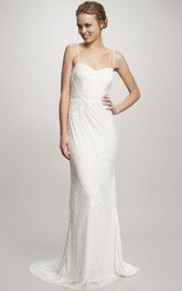 Maxi Spaghetti Beaded Chiffon Wedding Dress With Sweep Train