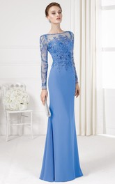 Sheath Maxi Beaded Illusion Sleeve Bateau Neck Chiffon Prom Dress