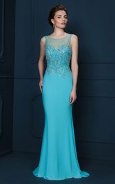 Sheath Beaded Scoop-Neck Sleeveless Long Jersey Evening Dress