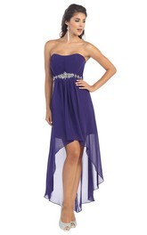 A-Line High-Low Strapless Chiffon Corset Back Dress With Ruching And Waist Jewellery