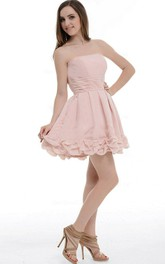 Short Pearl Pink Strapless Dress With Pockets