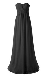 Strapless Chiffon Gown With Knot Detail