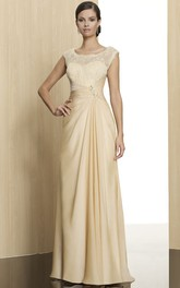 Maxi Sleeveless Appliqued Scoop Neck Jersey Formal Dress With Low-V Back