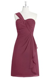 Sweetheart One-Shoulder A-Line Chiffon Dress With Side Draping and Ruching
