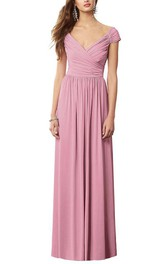 Cap Sleeve V-neck Ruched Long Chiffon Dress