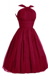 Halter A-line Pleated Dress With Ruching