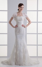 strapless lace mermaid gown with bolero and court train