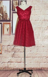 Short Lace Dress With Bow&Beading