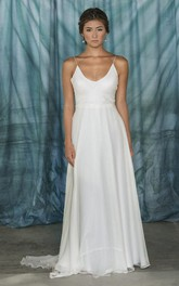 A-Line Spaghetti Strapped V-Neck Chiffon Weddig Dress
