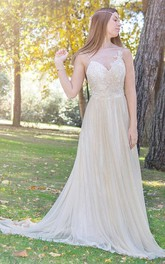 Exquisite Spaghetti Tulle Pleated Wedding Dress With Appliques
