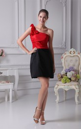 Two-Tone One-Shoulder Satin Mini Dress with Ruching