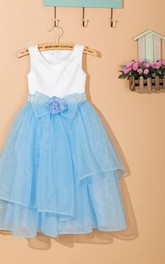Sleeveless Scoop Neck Layered Organza&Satin Dress