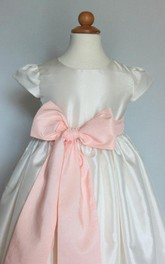 Cap Sleeve Taffeta Dress With Pleats and Bow Belt