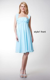 Sleeveless Pleated Short Chiffon Dress With Convertible Straps