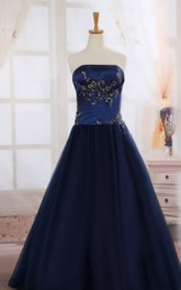 Strapless Floor-length Tulle Ball Gown With Appliques