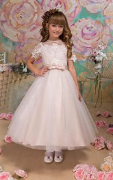 Short Sleeve High Neck A-line Tulle&Lace Dress With Flower