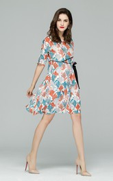 Printed Half Sleeve A-Line Dress