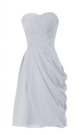 Sweetheart Ruched Long Layered Chiffon Dress