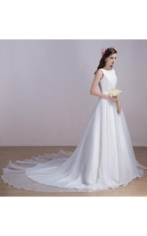 Chapel Train Lace Organza Satin Dress With Sash Ribbon Lace-Up Back