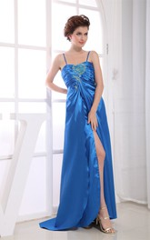Spaghetti-Straps Strapless Front-Split Satin Dress with Beadings Zipper Back