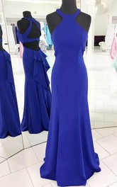 Gorgeous Halter Royal Blue Mermaid Long Evening Dress