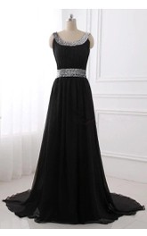 Long Beaded Chiffon Dress With Pleats And Court Train