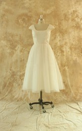 Hepburn Style Tulle Tea-Length Wedding Dress With Cap Sleeves
