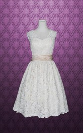 V-Neck Sleeveless Lace Wedding Dress With Sash And Low-V Back