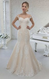 Mermaid Scoop-neck Cap-sleeve Lace Appliqued Wedding Dress With Sweep Train