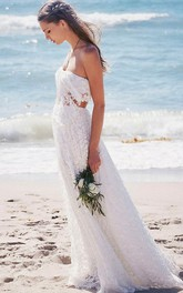 Two Piece Strapless Floor-length Lace Beach Boho Wedding Dress Wedding Dresses