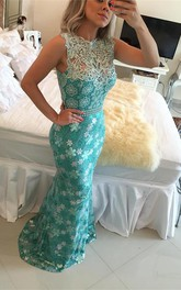 Elegant Sleeveless Lace Pearls Prom Dresses 2018 Mermaid Long Party Gown