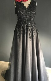 Sheath V-neck Floor-length Sleeveless Deep-V Back With Appliques Lace Sequins Black Wedding Dress