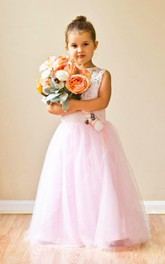 White Lace Pink Flower Girl With Long Tulle Skirt Dress