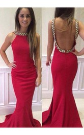 Sexy Sleeveless Mermaid Red Prom Dress Open Back Crystals