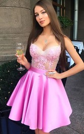 A-line Ball Gown Straps Sleeveless Ruffles Short Mini Satin Lace Homecoming Dress