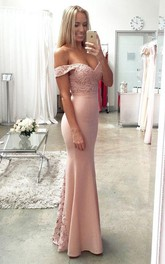 Off Shoulder Mermaid Evening Prom Dresses Long Lace Party Dress