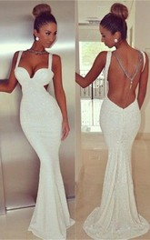 Sexy Backless White Sequins Prom Dress White 2018 Mermaid Sleeveless
