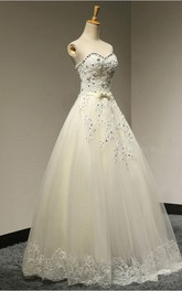 Long A-line Sweetheart Beaded Tulle Wedding Dress