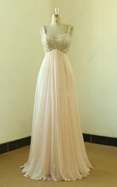 Backless Sexy Blush Pink Empire Prom Dress With Crystals