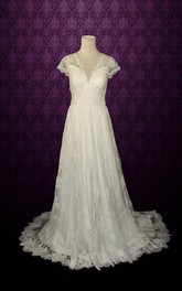V-Neck Cap Illusion Back Lace Wedding Dress With Pleats And Sash