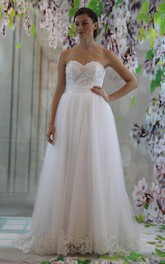 Mini Sweetheart Tulle Lace Weddig Dress With Appliques