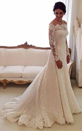 Vintage Off-the-shoulder A-line Lace Gown With Pleats