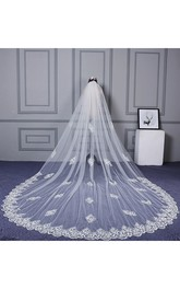 Latest Ethereal Cathedral Wedding Veil with Appliques and Lace Edge