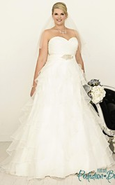 A-Line Ruffled Sweetheart Floor-Length Organza Plus Size Wedding Dress With Criss Cross And Tiers
