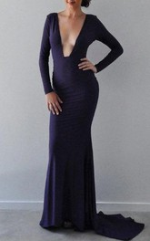 Plunged Long Sleeve Floor-Length Dress With Deep-V Back