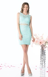 Pencil Short Jewel-Neck Sleeveless Lace Dress