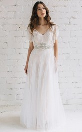 Plunged Poet-Sleeve Tulle Lace Wedding Dress With Beading