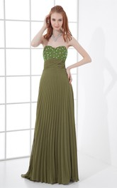 Sweetheart Pleated Maxi Dress with Gemmed Top